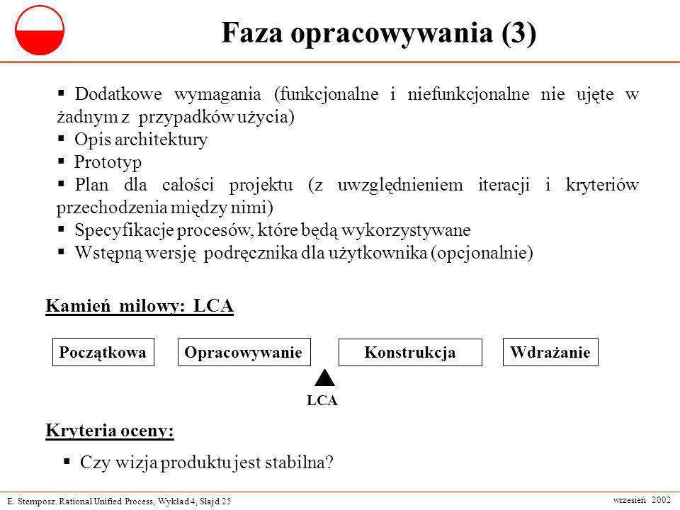 E. Stemposz. Rational Unified Process, Wykład 4, Slajd 25 wrzesień 2002 Faza opracowywania (3) Dodatkowe wymagania (funkcjonalne i niefunkcjonalne nie