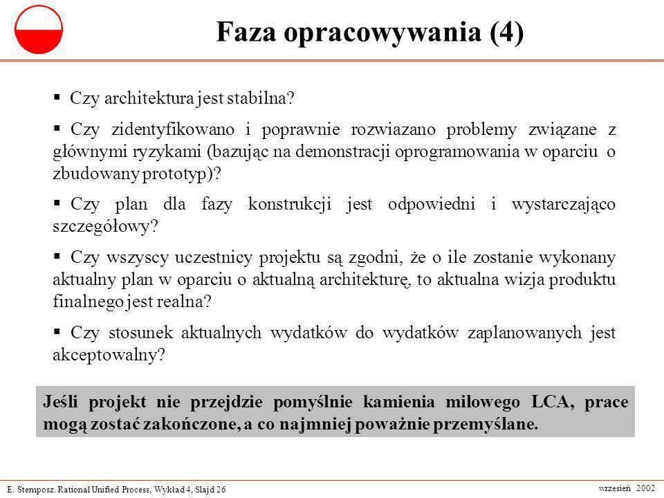 E. Stemposz. Rational Unified Process, Wykład 4, Slajd 26 wrzesień 2002 Faza opracowywania (4) Czy architektura jest stabilna? Czy zidentyfikowano i p