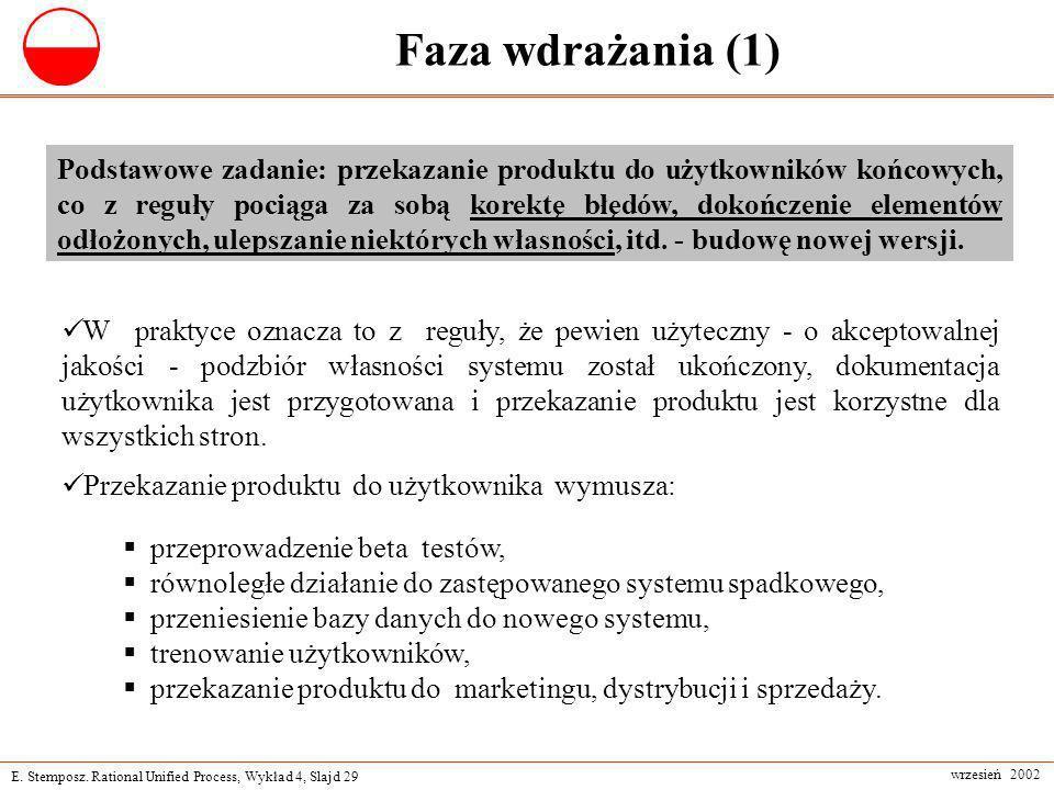 E. Stemposz. Rational Unified Process, Wykład 4, Slajd 29 wrzesień 2002 Faza wdrażania (1) Podstawowe zadanie: przekazanie produktu do użytkowników ko