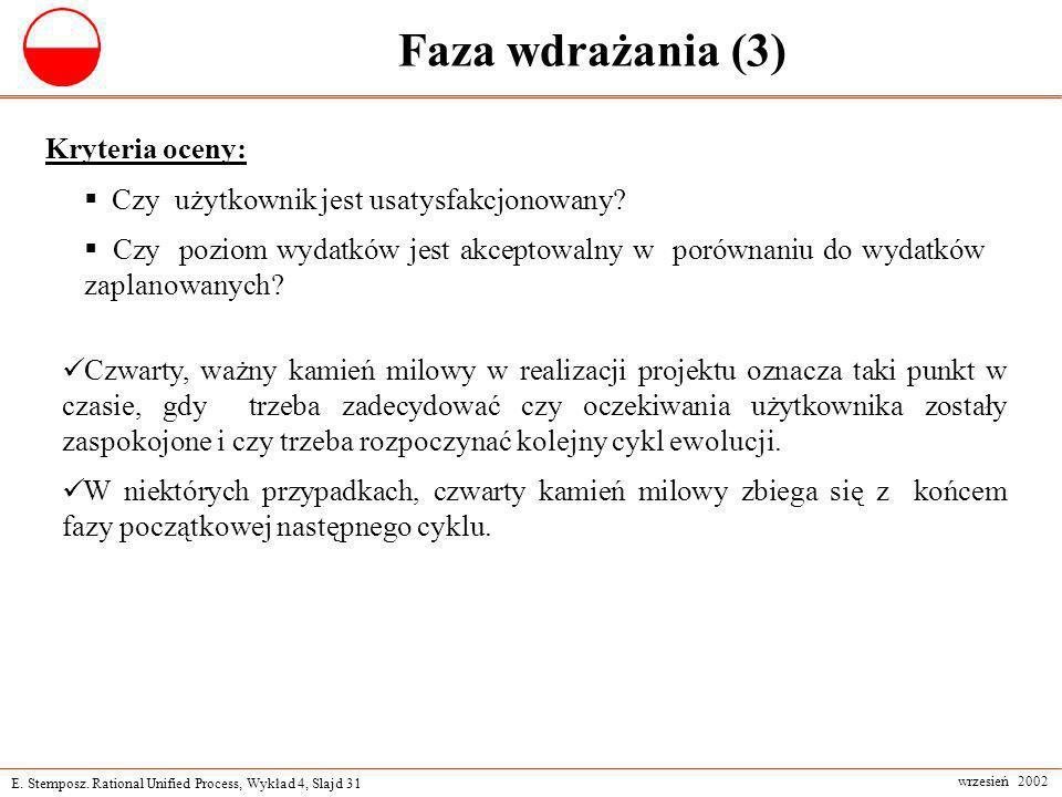 E. Stemposz. Rational Unified Process, Wykład 4, Slajd 31 wrzesień 2002 Faza wdrażania (3) Kryteria oceny: Czy użytkownik jest usatysfakcjonowany? Czy