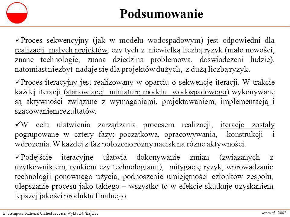 E. Stemposz. Rational Unified Process, Wykład 4, Slajd 33 wrzesień 2002 Podsumowanie Podejście iteracyjne ułatwia dokonywanie zmian (związanych z użyt
