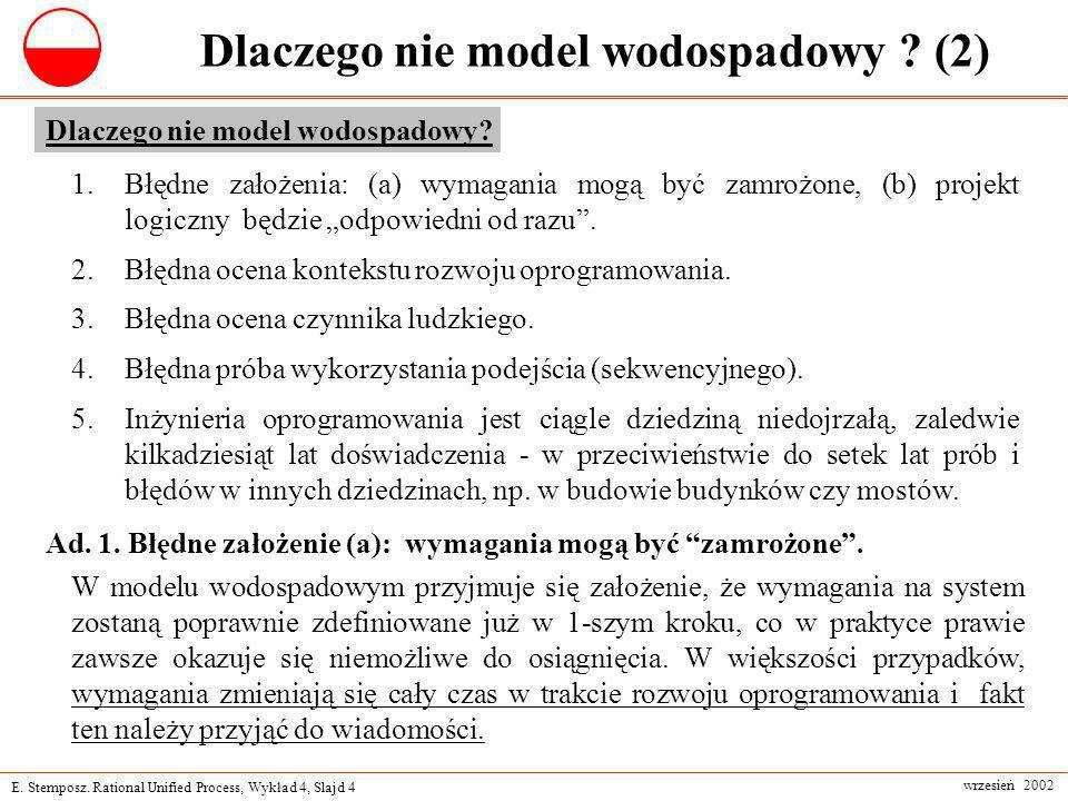 E. Stemposz. Rational Unified Process, Wykład 4, Slajd 4 wrzesień 2002 Dlaczego nie model wodospadowy ? (2) 1.Błędne założenia: (a) wymagania mogą być