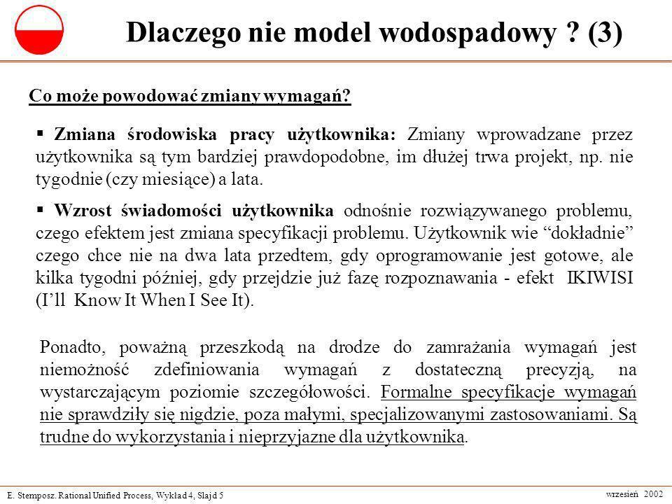 E. Stemposz. Rational Unified Process, Wykład 4, Slajd 5 wrzesień 2002 Dlaczego nie model wodospadowy ? (3) Zmiana środowiska pracy użytkownika: Zmian