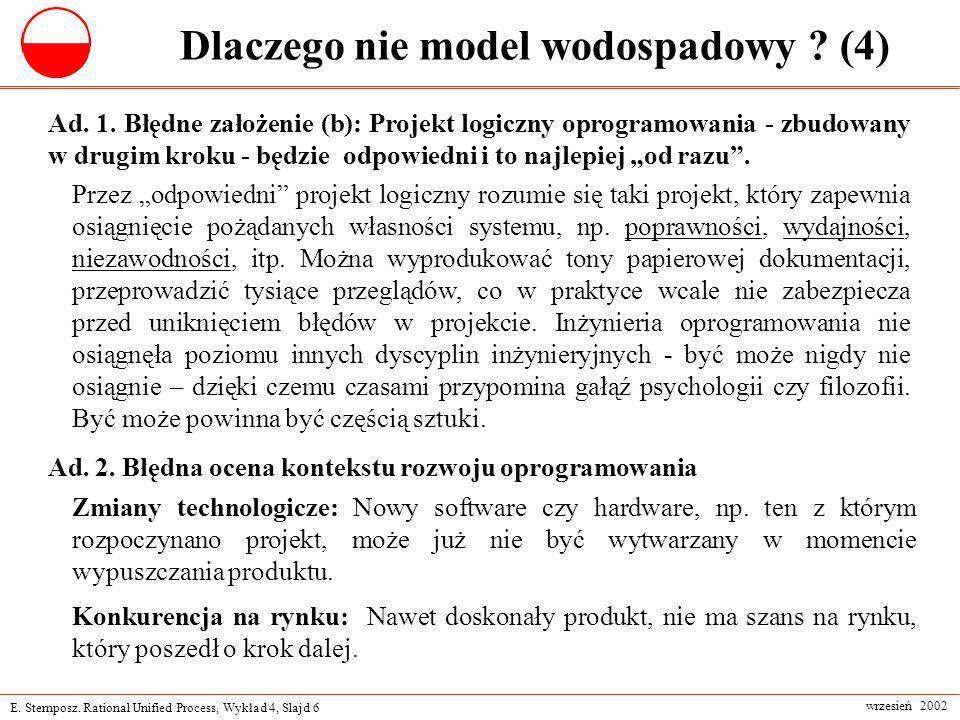 E. Stemposz. Rational Unified Process, Wykład 4, Slajd 6 wrzesień 2002 Dlaczego nie model wodospadowy ? (4) Ad. 1. Błędne założenie (b): Projekt logic