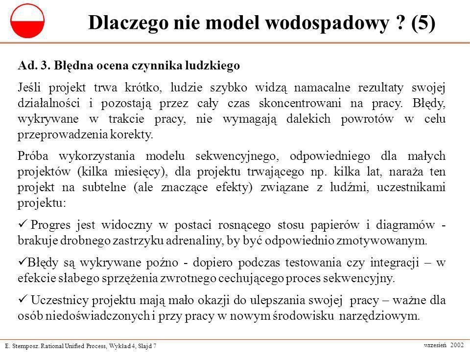 E. Stemposz. Rational Unified Process, Wykład 4, Slajd 7 wrzesień 2002 Dlaczego nie model wodospadowy ? (5) Ad. 3. Błędna ocena czynnika ludzkiego Jeś
