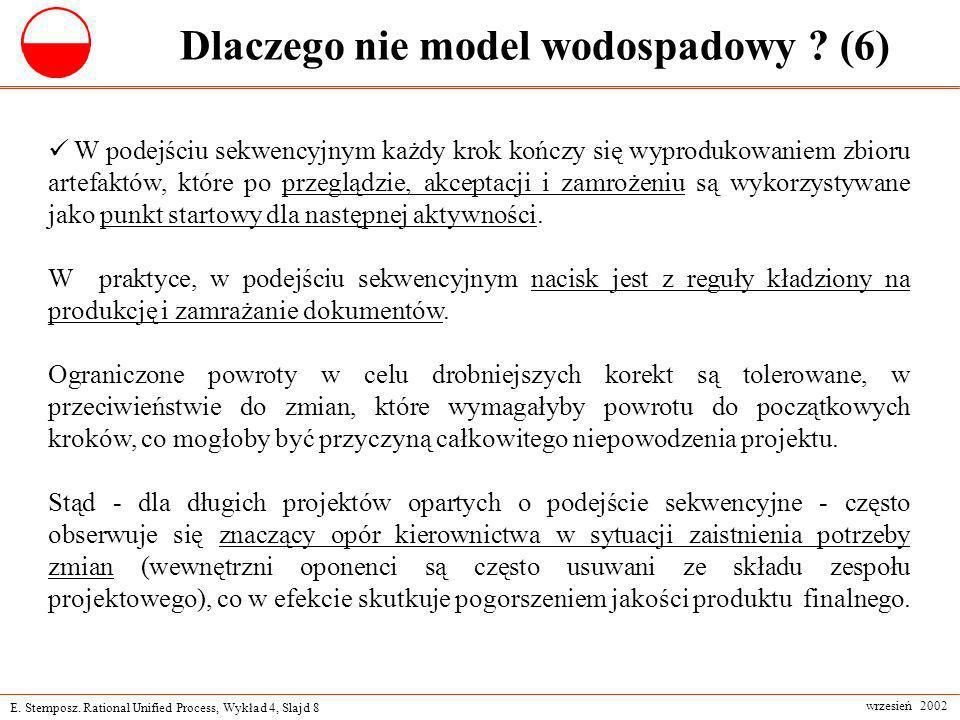E. Stemposz. Rational Unified Process, Wykład 4, Slajd 8 wrzesień 2002 Dlaczego nie model wodospadowy ? (6) W podejściu sekwencyjnym każdy krok kończy