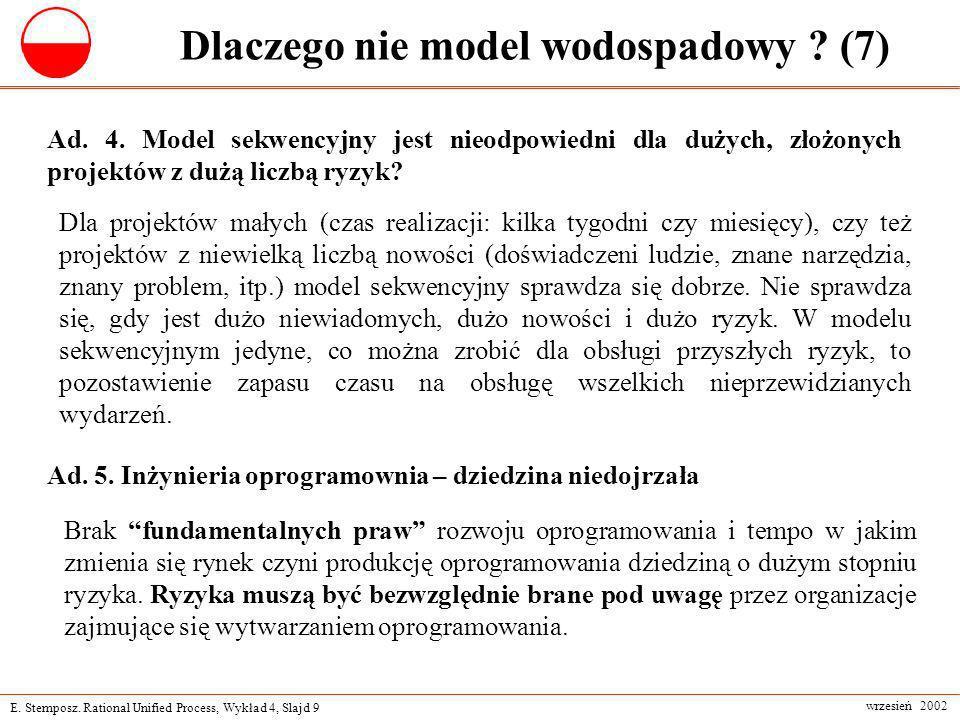 E. Stemposz. Rational Unified Process, Wykład 4, Slajd 9 wrzesień 2002 Dlaczego nie model wodospadowy ? (7) Dla projektów małych (czas realizacji: kil