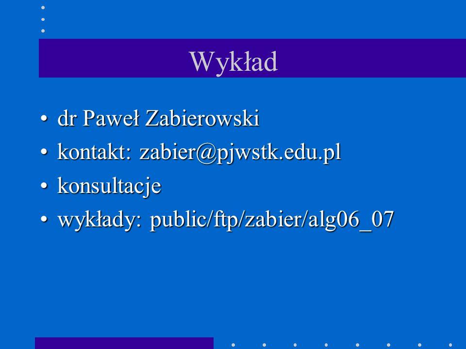 Wykład dr Paweł Zabierowskidr Paweł Zabierowski kontakt: zabier@pjwstk.edu.plkontakt: zabier@pjwstk.edu.pl konsultacjekonsultacje wykłady: public/ftp/zabier/alg06_07wykłady: public/ftp/zabier/alg06_07