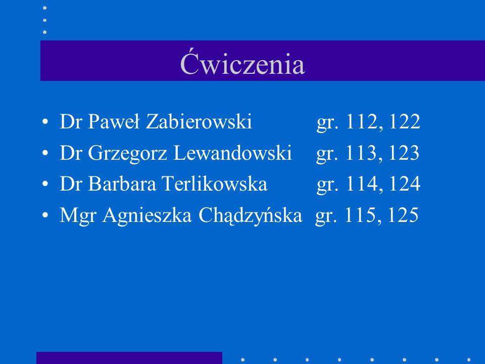 Ćwiczenia Dr Paweł Zabierowski gr.112, 122 Dr Grzegorz Lewandowski gr.