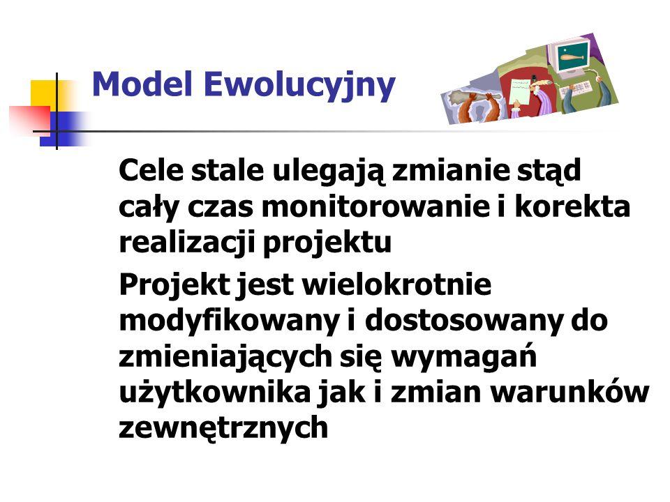 Model Ewolucyjny Cele stale ulegają zmianie stąd cały czas monitorowanie i korekta realizacji projektu Projekt jest wielokrotnie modyfikowany i dostos
