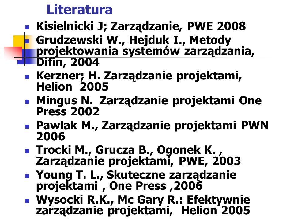 Literatura Kisielnicki J; Zarządzanie, PWE 2008 Grudzewski W., Hejduk I., Metody projektowania systemów zarządzania, Difin, 2004 Kerzner; H. Zarządzan