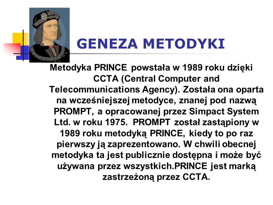GENEZA METODYKI Metodyka PRINCE powstała w 1989 roku dzięki CCTA (Central Computer and Telecommunications Agency). Została ona oparta na wcześniejszej