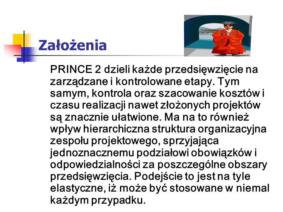 Założenia PRINCE 2 dzieli każde przedsięwzięcie na zarządzane i kontrolowane etapy. Tym samym, kontrola oraz szacowanie kosztów i czasu realizacji naw