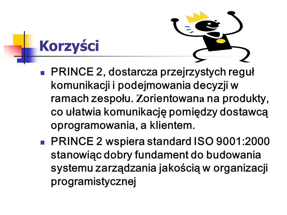 Korzyści PRINCE 2, dostarcza przejrzystych reguł komunikacji i podejmowania decyzji w ramach zespołu. Z orientowan a na produkty, co ułatwia komunikac