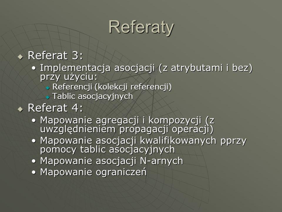 Referaty Referat 3: Referat 3: Implementacja asocjacji (z atrybutami i bez) przy użyciu:Implementacja asocjacji (z atrybutami i bez) przy użyciu: Refe