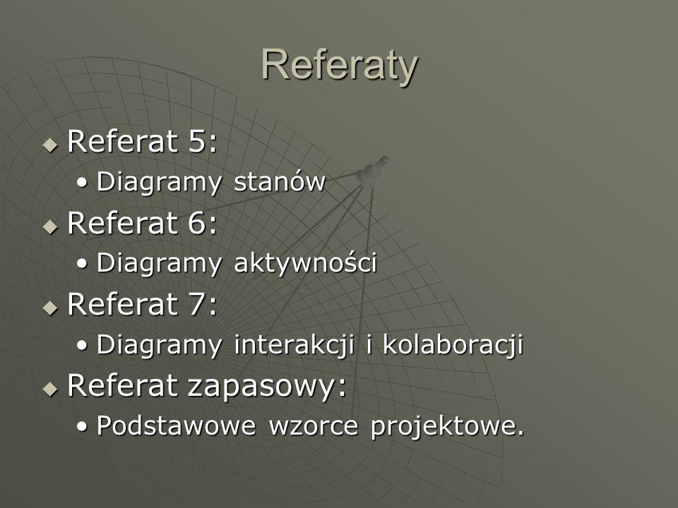 Referaty Referat 5: Referat 5: Diagramy stanówDiagramy stanów Referat 6: Referat 6: Diagramy aktywnościDiagramy aktywności Referat 7: Referat 7: Diagr