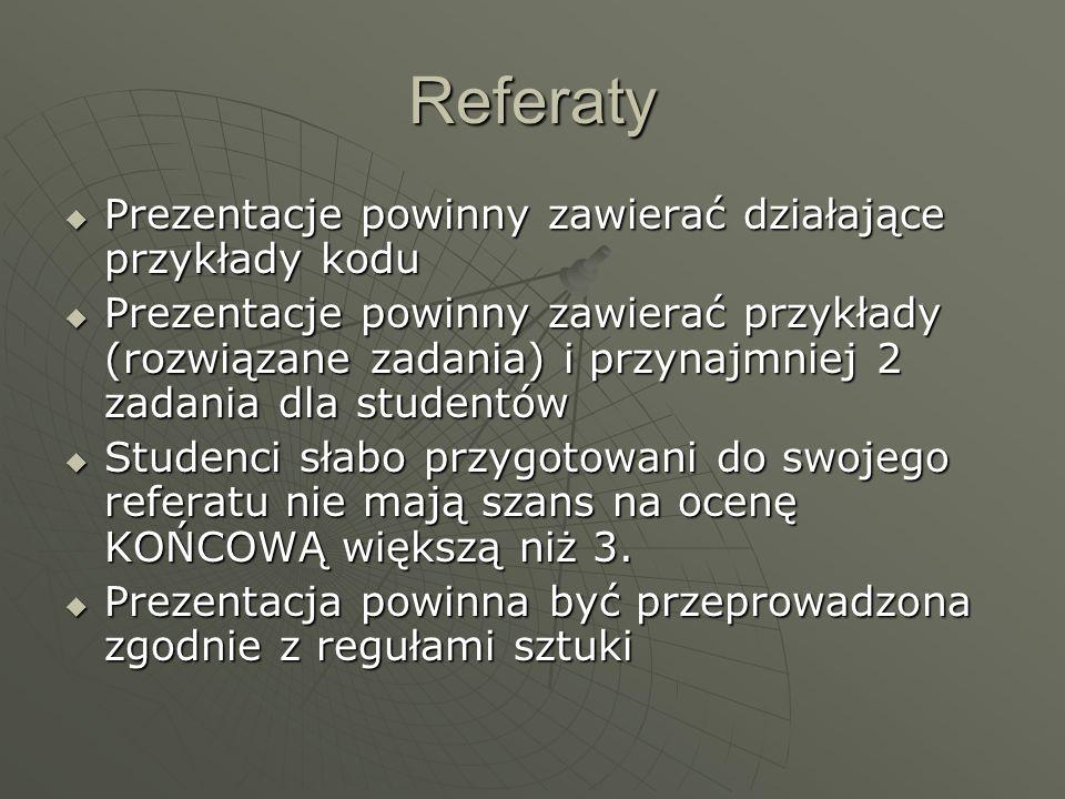 Projekt Kontynuacja indywidualnych projektów z PRI Kontynuacja indywidualnych projektów z PRI W ramach projektu należy dostarczyć: W ramach projektu należy dostarczyć: Oryginalny projekt z PRIOryginalny projekt z PRI Nowo dodane dokumenty, ewentualnie nową wersję oryginalnego projektu, jeśli został on zmodyfikowanyNowo dodane dokumenty, ewentualnie nową wersję oryginalnego projektu, jeśli został on zmodyfikowany Implementację (działającą!)Implementację (działającą!)
