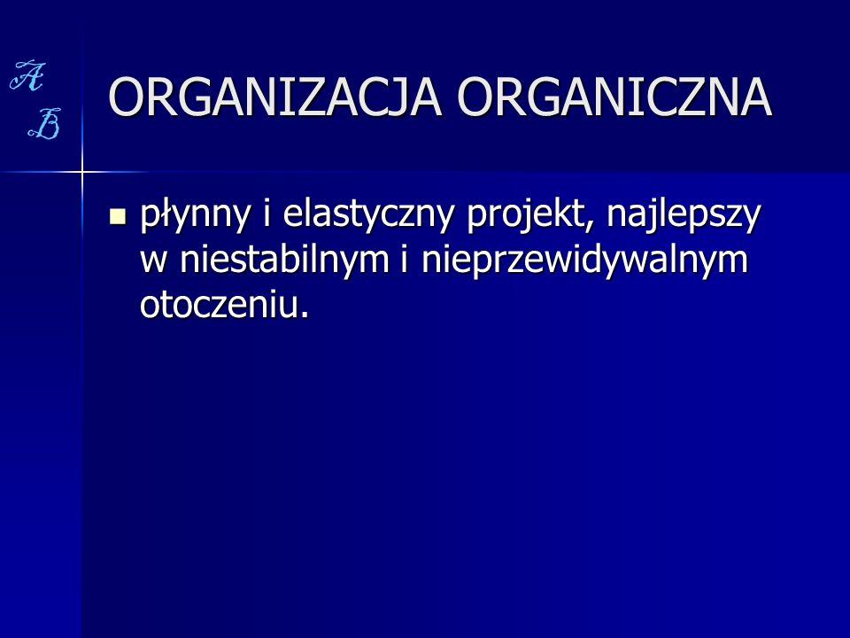 ORGANIZACJA ORGANICZNA płynny i elastyczny projekt, najlepszy w niestabilnym i nieprzewidywalnym otoczeniu. płynny i elastyczny projekt, najlepszy w n
