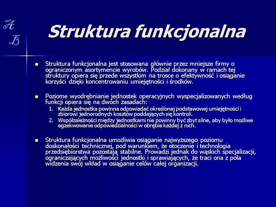 Struktura funkcjonalna Struktura funkcjonalna jest stosowana głównie przez mniejsze firmy o ograniczonym asortymencie wyrobów. Podział dokonany w rama