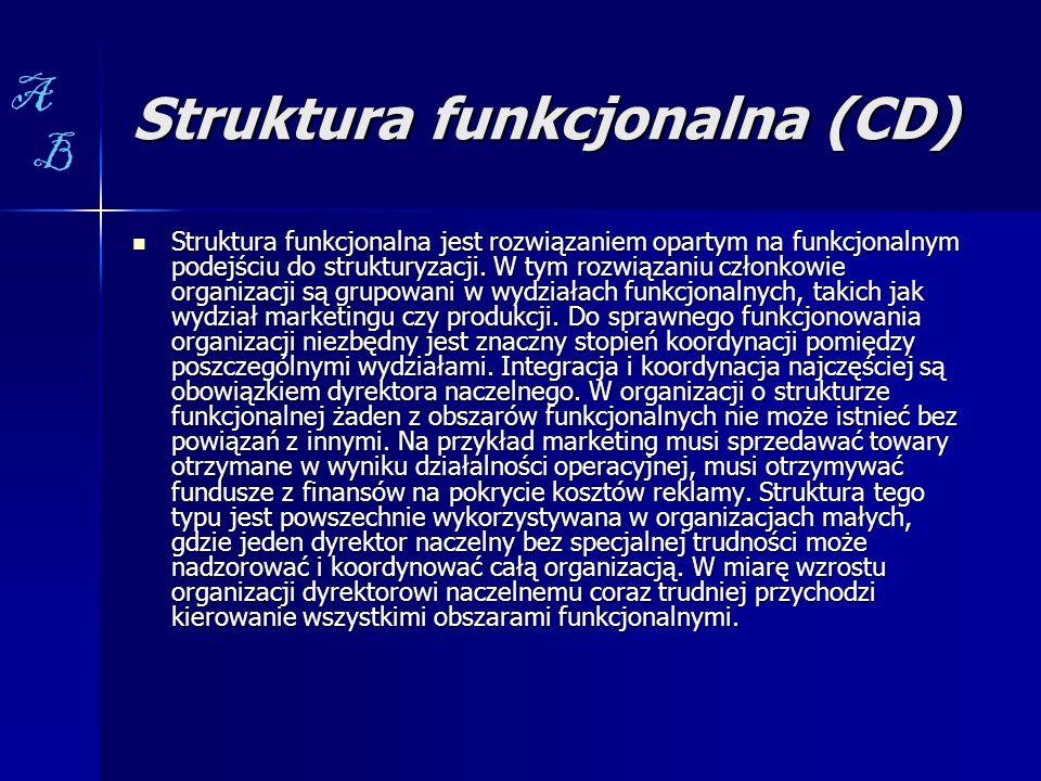 Struktura funkcjonalna (CD) Struktura funkcjonalna jest rozwiązaniem opartym na funkcjonalnym podejściu do strukturyzacji. W tym rozwiązaniu członkowi