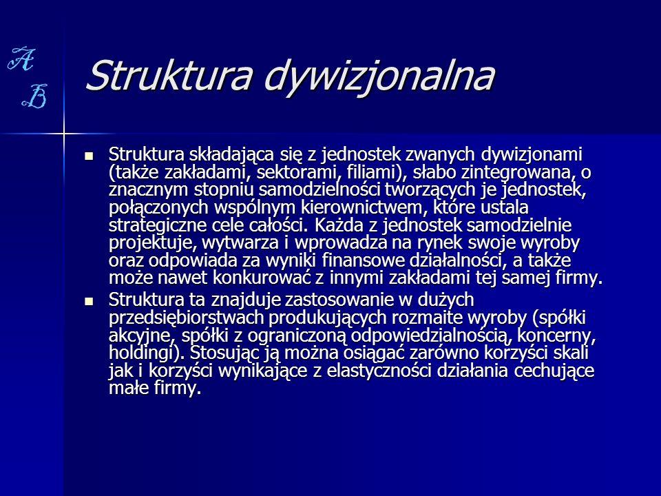 Struktura dywizjonalna Struktura składająca się z jednostek zwanych dywizjonami (także zakładami, sektorami, filiami), słabo zintegrowana, o znacznym