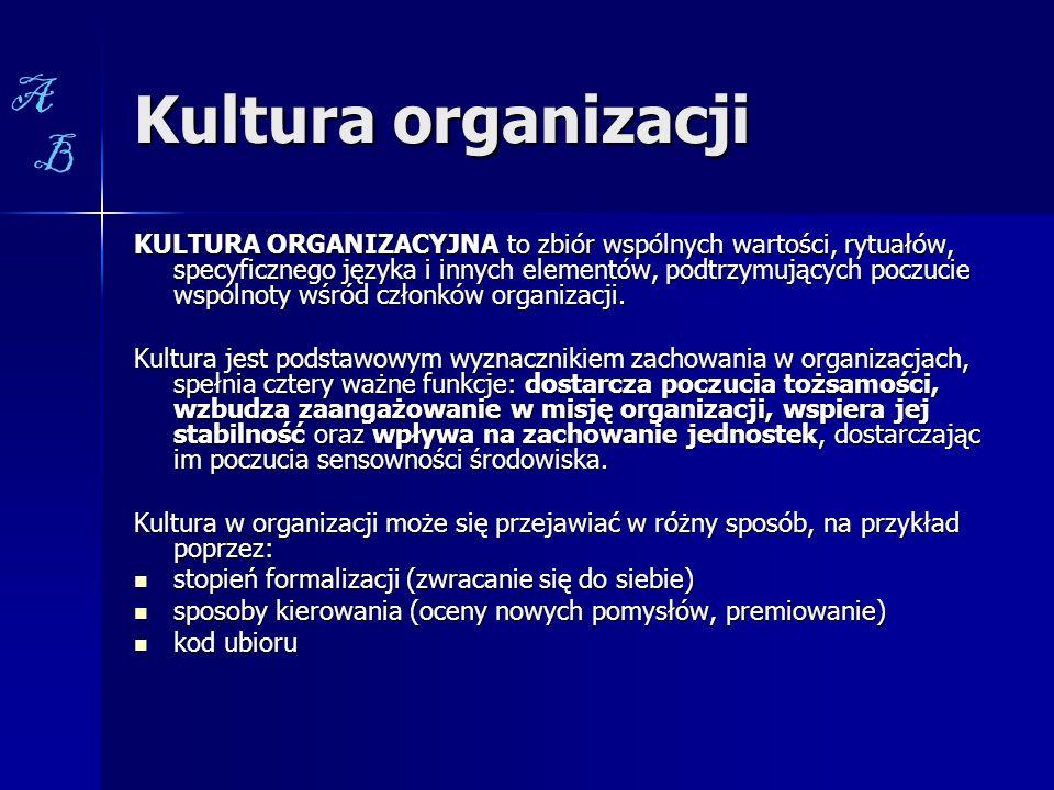 Kultura organizacji KULTURA ORGANIZACYJNA to zbiór wspólnych wartości, rytuałów, specyficznego języka i innych elementów, podtrzymujących poczucie wsp