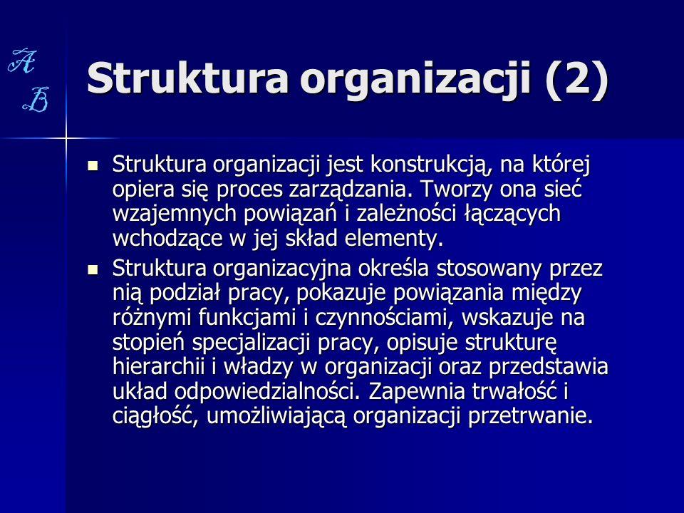 Struktura organizacji (2) Struktura organizacji jest konstrukcją, na której opiera się proces zarządzania. Tworzy ona sieć wzajemnych powiązań i zależ