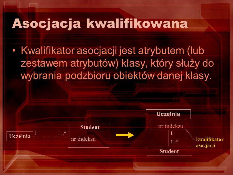 Asocjacja kwalifikowana Kwalifikator asocjacji jest atrybutem (lub zestawem atrybutów) klasy, który służy do wybrania podzbioru obiektów danej klasy.