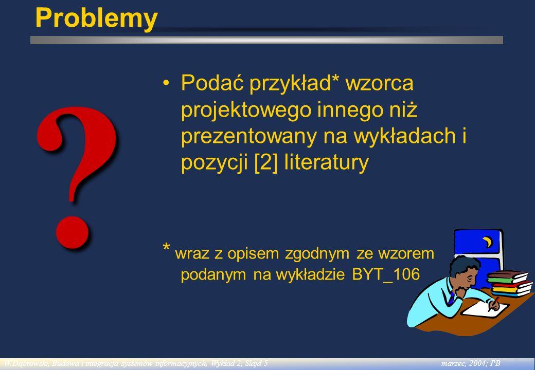 W.Dąbrowski, Budowa i integracja systemów informacyjnych, Wykład 6, Slajd 6listopad, 2004; PC Literatura [1] Gamma E., Helm R., Johnson R., Vlissides J., Design Patterns: Elements od Reusable Object-Oriented Software, Addison-Wesley, 1995 [2] Shalloway A., Trott J.R., Projektowanie zorientowane obiektowo.