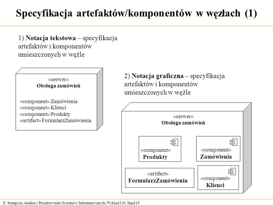 E. Stemposz, Analiza i Projektowanie Systemów Informatycznych, Wykład 11b, Slajd 19 Specyfikacja artefaktów/komponentów w węzłach (1) 1) Notacja tekst