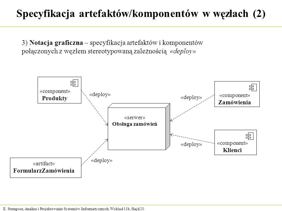 E. Stemposz, Analiza i Projektowanie Systemów Informatycznych, Wykład 11b, Slajd 20 Specyfikacja artefaktów/komponentów w węzłach (2) «serwer» Obsługa