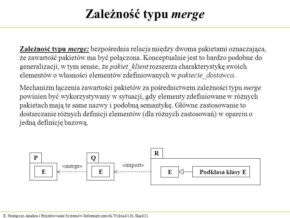 E. Stemposz, Analiza i Projektowanie Systemów Informatycznych, Wykład 11b, Slajd 31 Zależność typu merge Zależność typu merge: bezpośrednia relacja mi
