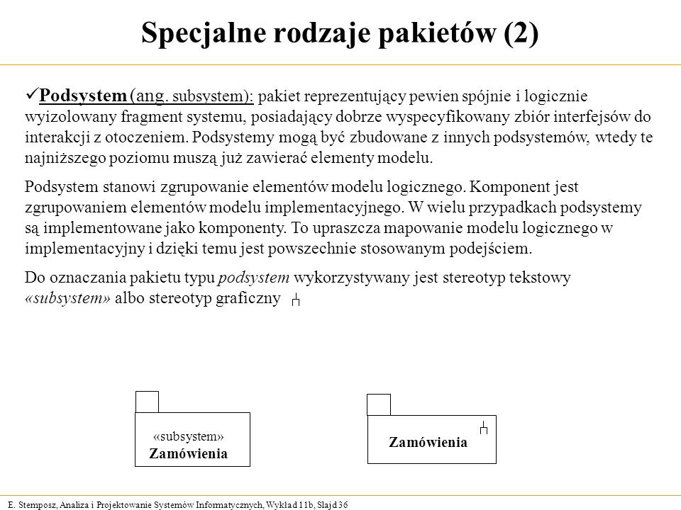 E. Stemposz, Analiza i Projektowanie Systemów Informatycznych, Wykład 11b, Slajd 36 Specjalne rodzaje pakietów (2) «subsystem» Zamówienia Podsystem (a