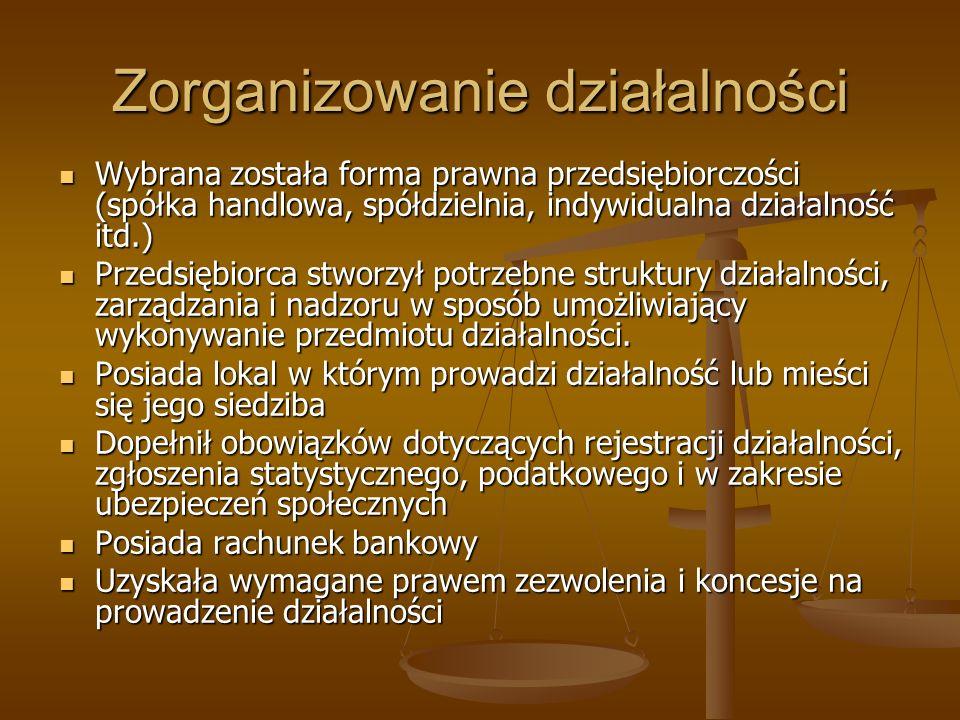 Zorganizowanie działalności Wybrana została forma prawna przedsiębiorczości (spółka handlowa, spółdzielnia, indywidualna działalność itd.) Wybrana zos