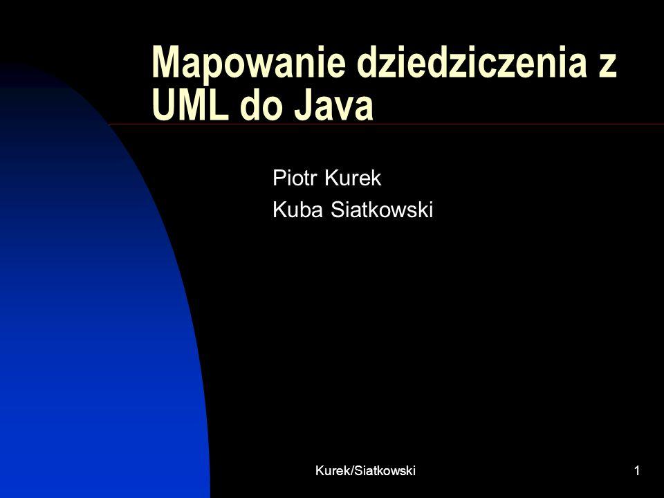 Kurek/Siatkowski1 Mapowanie dziedziczenia z UML do Java Piotr Kurek Kuba Siatkowski