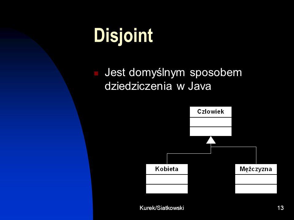 Kurek/Siatkowski13 Disjoint Jest domyślnym sposobem dziedziczenia w Java