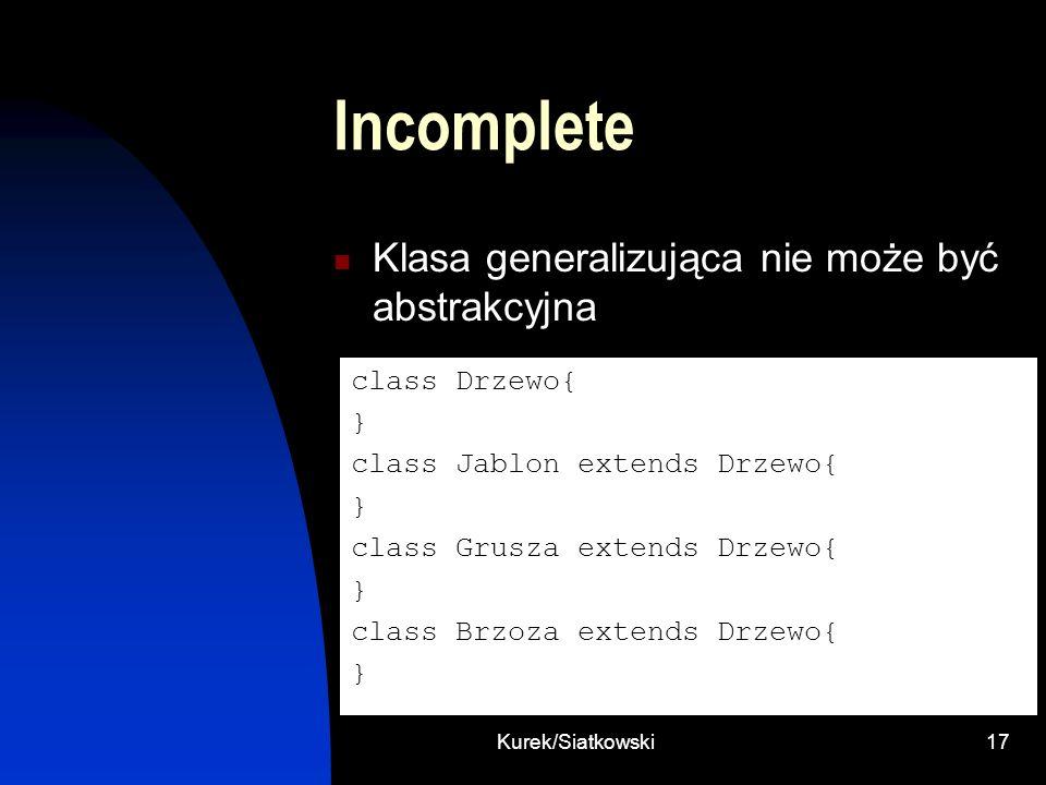 Kurek/Siatkowski17 Incomplete Klasa generalizująca nie może być abstrakcyjna class Drzewo{ } class Jablon extends Drzewo{ } class Grusza extends Drzew