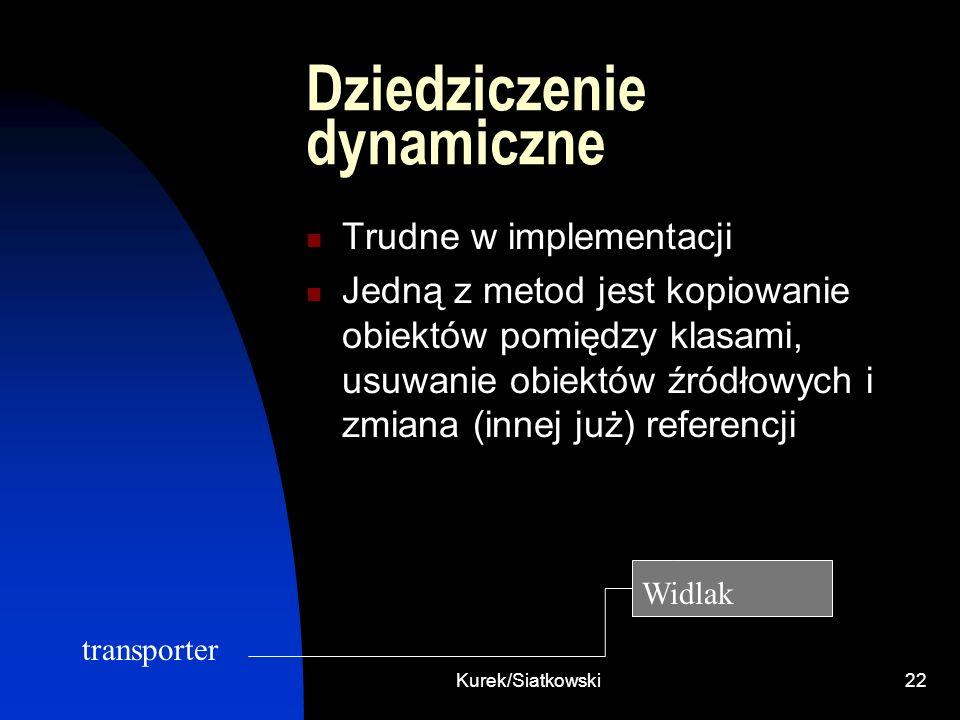 Kurek/Siatkowski22 Dziedziczenie dynamiczne Trudne w implementacji Jedną z metod jest kopiowanie obiektów pomiędzy klasami, usuwanie obiektów źródłowy