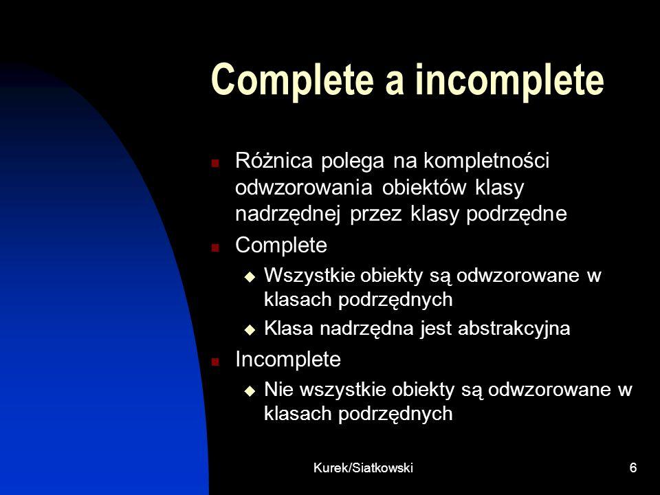 Kurek/Siatkowski6 Complete a incomplete Różnica polega na kompletności odwzorowania obiektów klasy nadrzędnej przez klasy podrzędne Complete Wszystkie