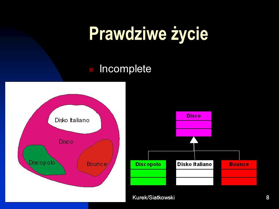 Kurek/Siatkowski19 Wielodziedziczenie poprzez kompozycje class Jednoslad{ Motor motor; Rower rower; } class Motor{} class Rower{}