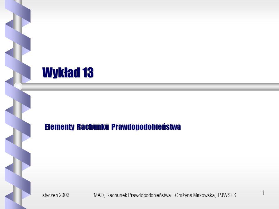 styczen 2003MAD, Rachunek Prawdopodobieństwa Grażyna Mirkowska, PJWSTK11 Wykluczanie się zdarzeń Zdarzeniem przeciwnym do zdarzenia A nazywa się zdarzenie A= - A.