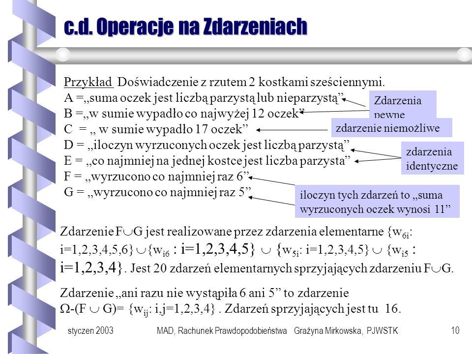 styczen 2003MAD, Rachunek Prawdopodobieństwa Grażyna Mirkowska, PJWSTK9 Działania na zdarzeniach Na zdarzeniach wykonujemy takie same operacje jak na