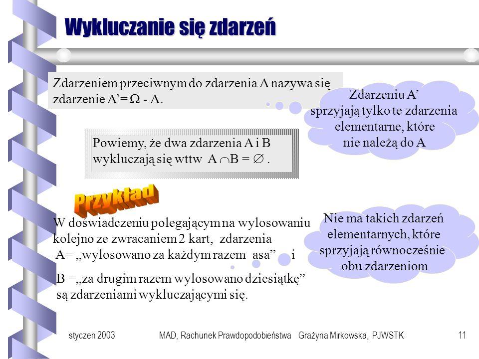 styczen 2003MAD, Rachunek Prawdopodobieństwa Grażyna Mirkowska, PJWSTK10 c.d. Operacje na Zdarzeniach Przykład Doświadczenie z rzutem 2 kostkami sześc