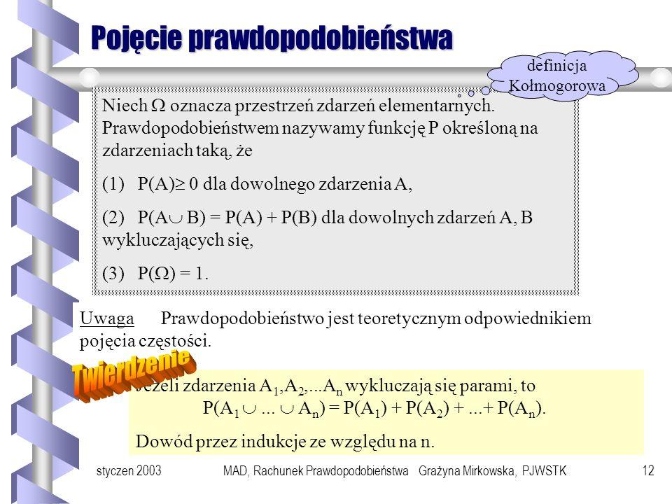 styczen 2003MAD, Rachunek Prawdopodobieństwa Grażyna Mirkowska, PJWSTK11 Wykluczanie się zdarzeń Zdarzeniem przeciwnym do zdarzenia A nazywa się zdarz