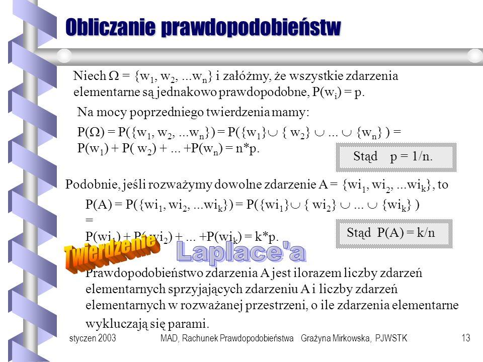styczen 2003MAD, Rachunek Prawdopodobieństwa Grażyna Mirkowska, PJWSTK12 Pojęcie prawdopodobieństwa Niech oznacza przestrzeń zdarzeń elementarnych. Pr