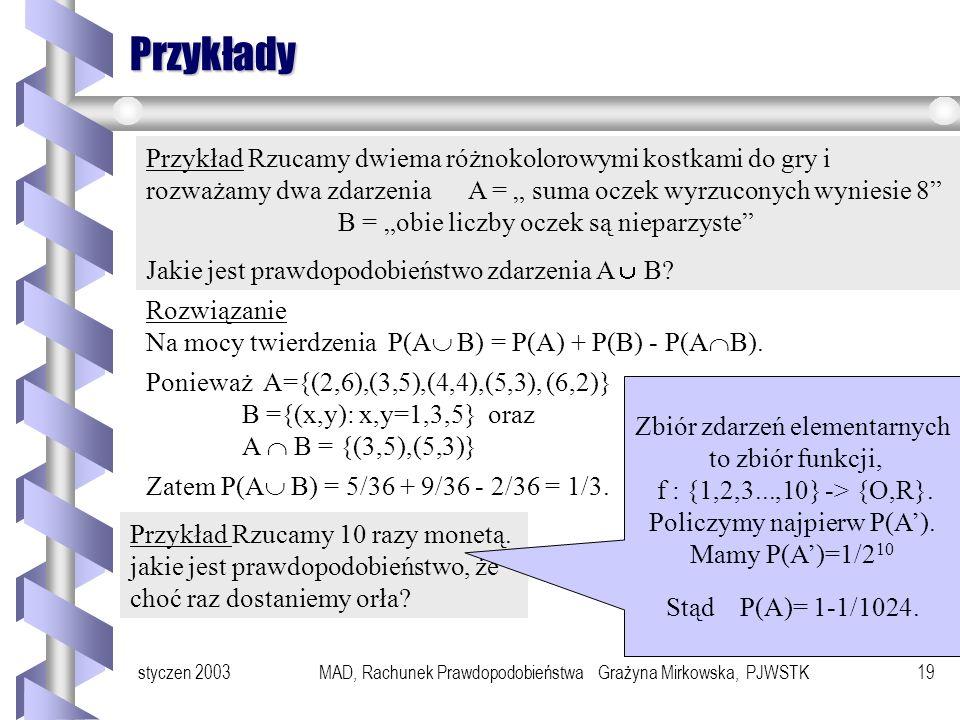 styczen 2003MAD, Rachunek Prawdopodobieństwa Grażyna Mirkowska, PJWSTK18 Własności prawdopodobieństwa Niech będzie przestrzenią zdarzeń elementarnych.