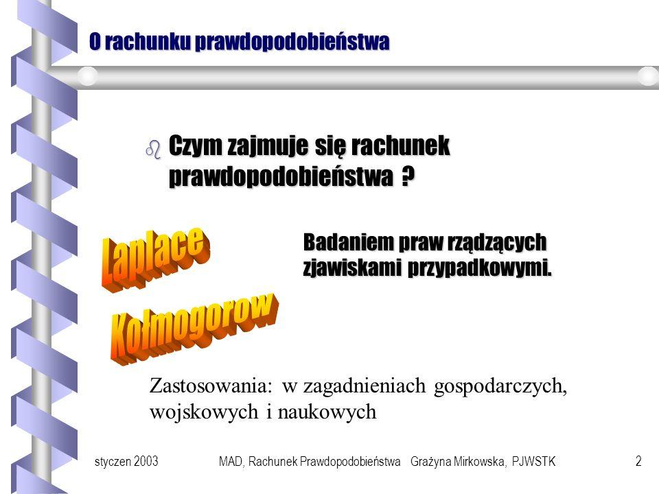 styczen 2003MAD, Rachunek Prawdopodobieństwa Grażyna Mirkowska, PJWSTK22 Niezależność zdarzeń Zdarzenia A i B nazywamy niezależnymi, jeśli P(A B) = P(A) * P(B).