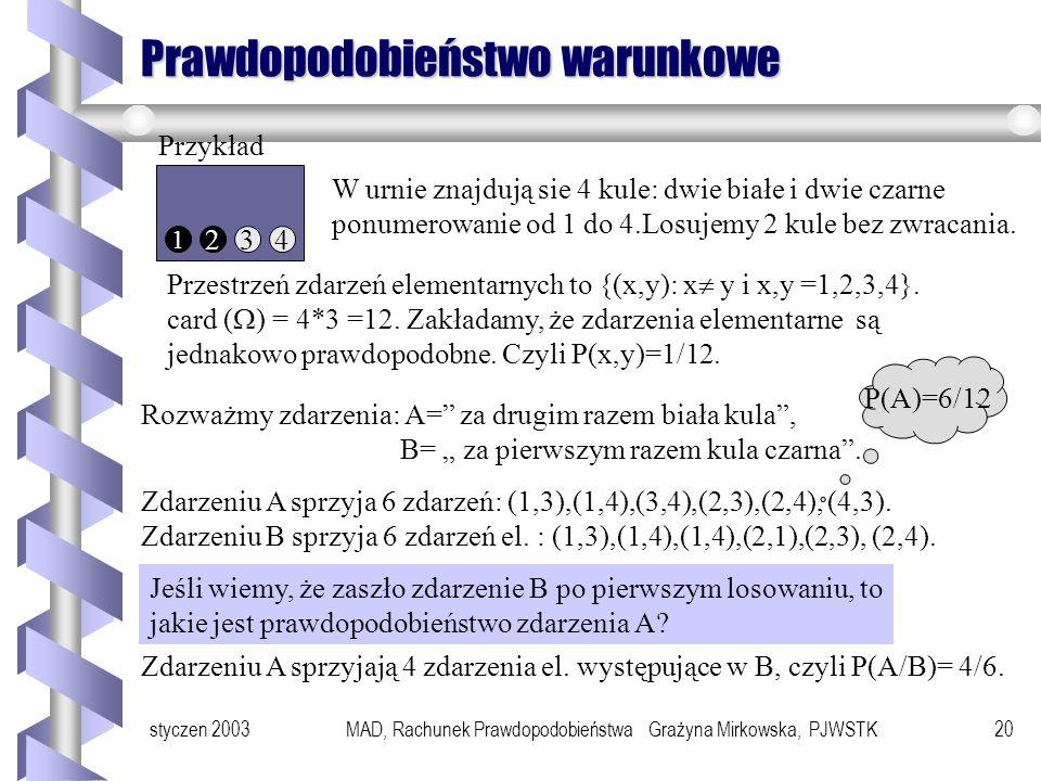 styczen 2003MAD, Rachunek Prawdopodobieństwa Grażyna Mirkowska, PJWSTK19 Przykłady Przykład Rzucamy dwiema różnokolorowymi kostkami do gry i rozważamy