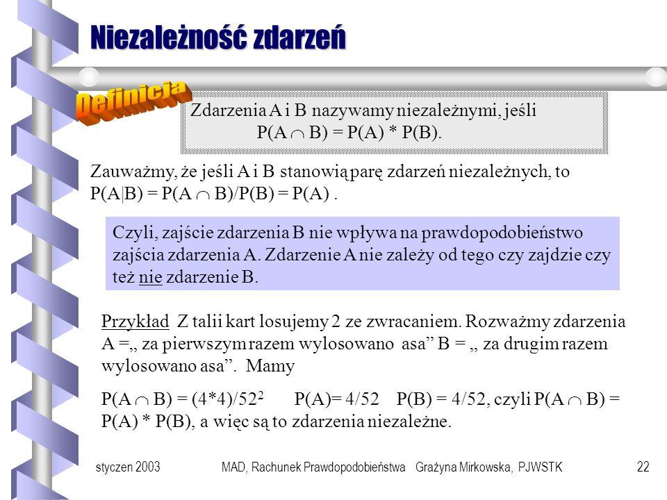 styczen 2003MAD, Rachunek Prawdopodobieństwa Grażyna Mirkowska, PJWSTK21 Prawdopodobieństwo warunkowe c.d. Prawdopodobieństwo zajścia zdarzenia A pod
