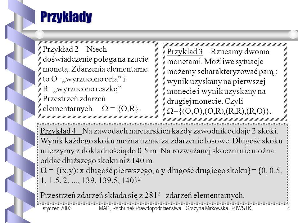 styczen 2003MAD, Rachunek Prawdopodobieństwa Grażyna Mirkowska, PJWSTK4 Przykłady Przykład 2 Niech doświadczenie polega na rzucie monetą.